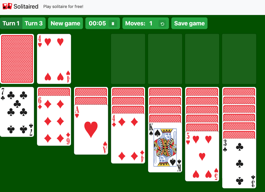 Turn 1 Solitaire example