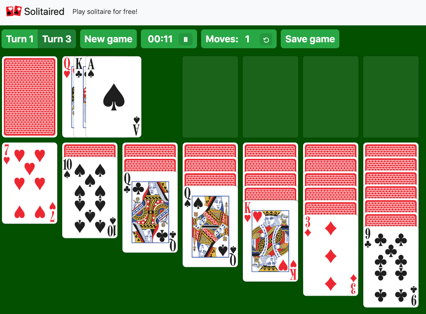Turn 3 Solitaire example